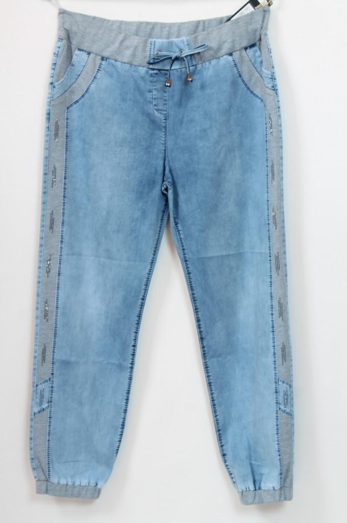 Турецкие летние джинсы на резинке с трикотажными вставками, 56-64