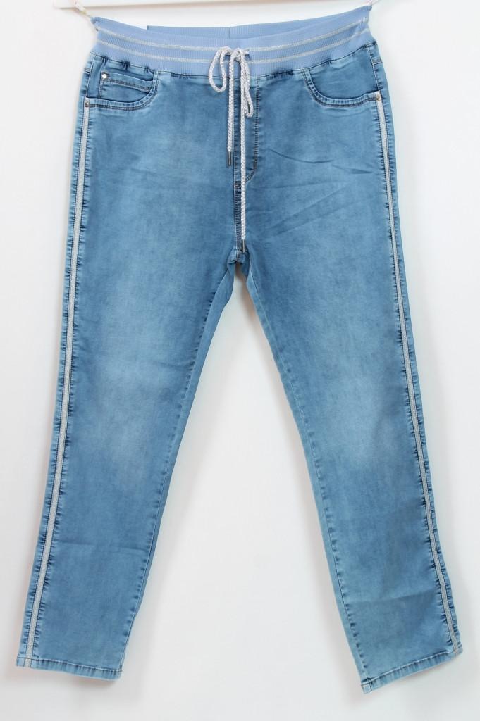 Турецкие летние джинсы на резинке с лампасами, 56-62