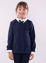 Детская блузка школьная синяя для девочки с брошью