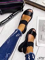 Босоножки в стиле Zara черные комби резинка