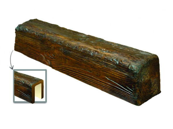Балка потолочная декоративная  Рустик EQ 004 (3м) classic темная 19х17, лепной декор из полиуретана.