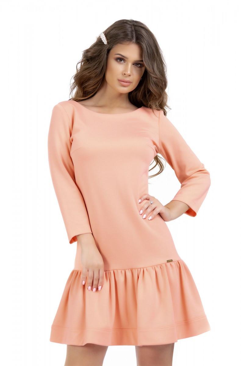 Нежное платье персикового цвета с оборкой 44,46,48,50