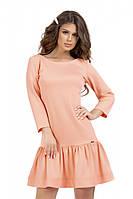 Нежное платье персикового цвета с оборкой 44,46,48,50, фото 1