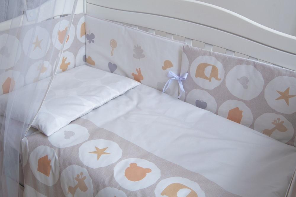 Детская постель Twins Eco Line New 6 элементов E-020 Animals beige (Постіль E-020)