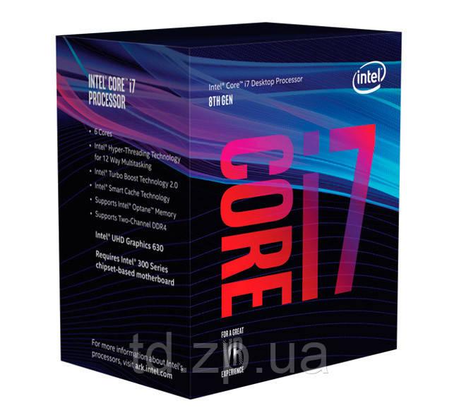 Процессор Intel Core i7 (LGA1151) i7-8700K, Box, 6x3,7 GHz (Turbo Boost 4,7 GHz), UHD Graphic 630 (1200 MHz)