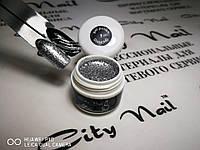 Глитерный гель-лак в баночке CityNail 1 серебристый