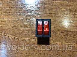 Клавиша (кнопка) двойная, с подсветкой (светодиодом),(широкая) модель S13113/16А/250V/T125  SETEL,(Турция).