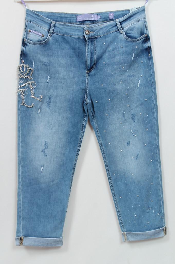 Турецкие летние укороченные джинсы с бусинами, 50-56