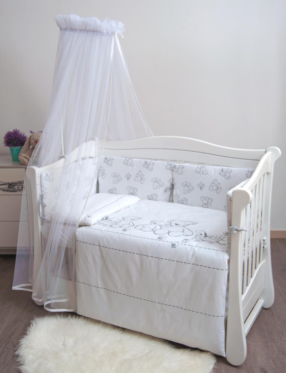 Детская постель Twins Eco Line New 6 элементов E-025 Teddy бело-серый (Постіль E-025)