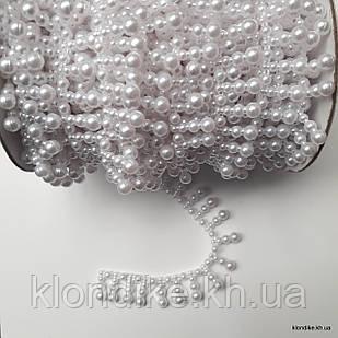 Бусины акриловые на бобине, ширина: 15 мм, Цвет: Белый перламутр