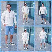 Мужской  летний комплект  шорты Томми 5 цветов   +  белая  летняя  рубашка