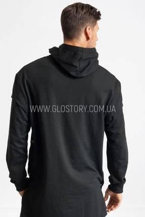Оригинальная удлиненная толстовка Glo-Story в черном цвете, фото 2