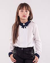 Детская блузка школьная белая  для девочки с брошью