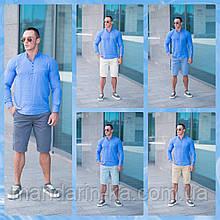 Мужской летний комплект шорты Томми 5 цветов + синяя летняя рубашка