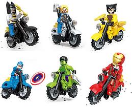 Набор Супергерои Марвел с мотоциклами мини фигурки Аналог Конструктор Игрушки