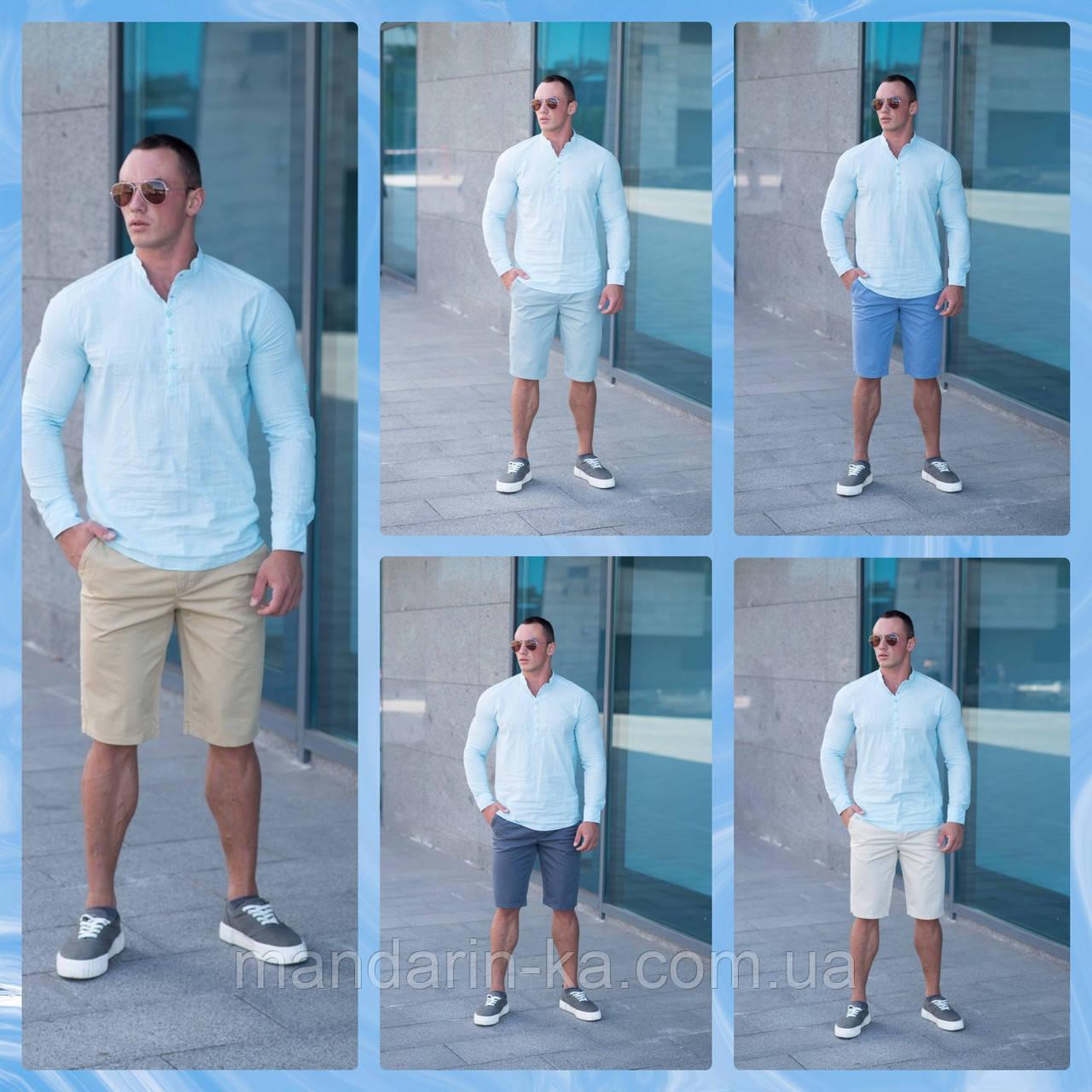 Мужской  летний комплект  шорты Томми  5 цветов  +  мятная летняя  рубашка