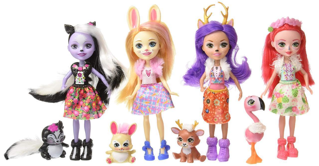 Набор из 4 кукол Enchantimals Счастливые подружки с их питомцами (Скунс, Оленица, Кролик, Фламинго)