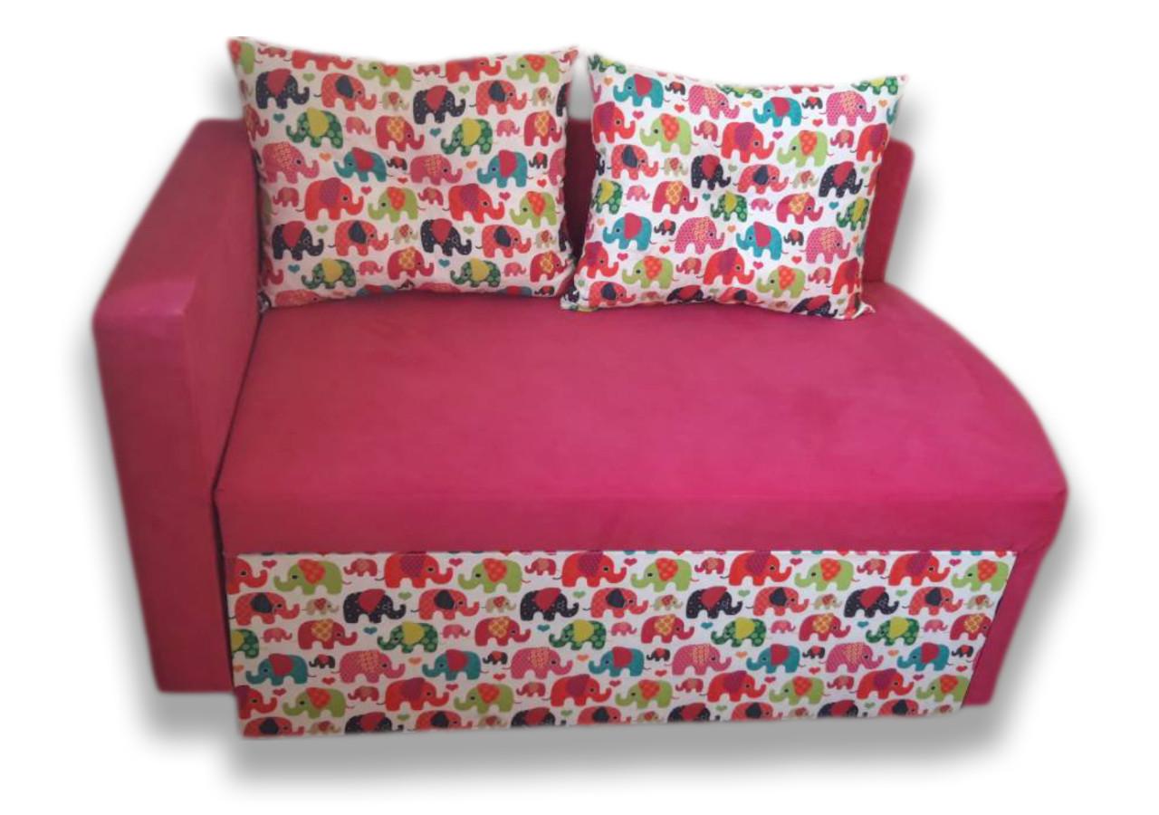 Диван дитячий Шпех 70см малюк розкладний (Слоники + рожевий). Диванчик зі спальним місцем 2 метри