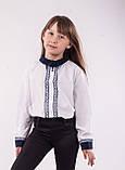 Детская блузка школьная белая для девочки с кружевной планкой, фото 2