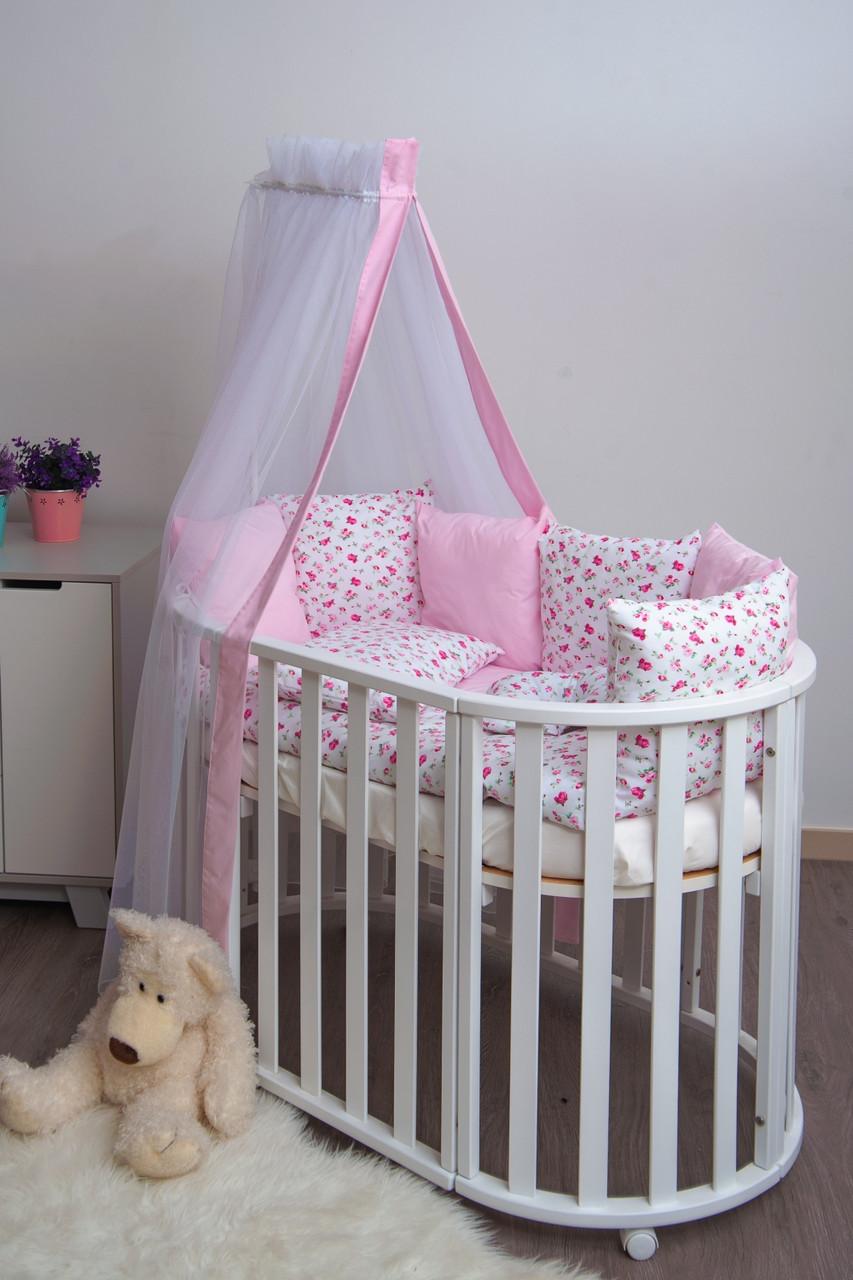 Детская постель Twins Dolce Прованс 8 предметов D-022 белый розовый (Постіль твінс дольче D-022 Прованс)