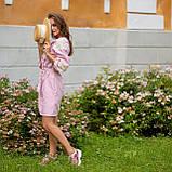 Платье женское  стильное  льняное с кружевом  пудра в этно-стиле, фото 2
