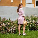 Платье женское  стильное  льняное с кружевом  пудра в этно-стиле, фото 3