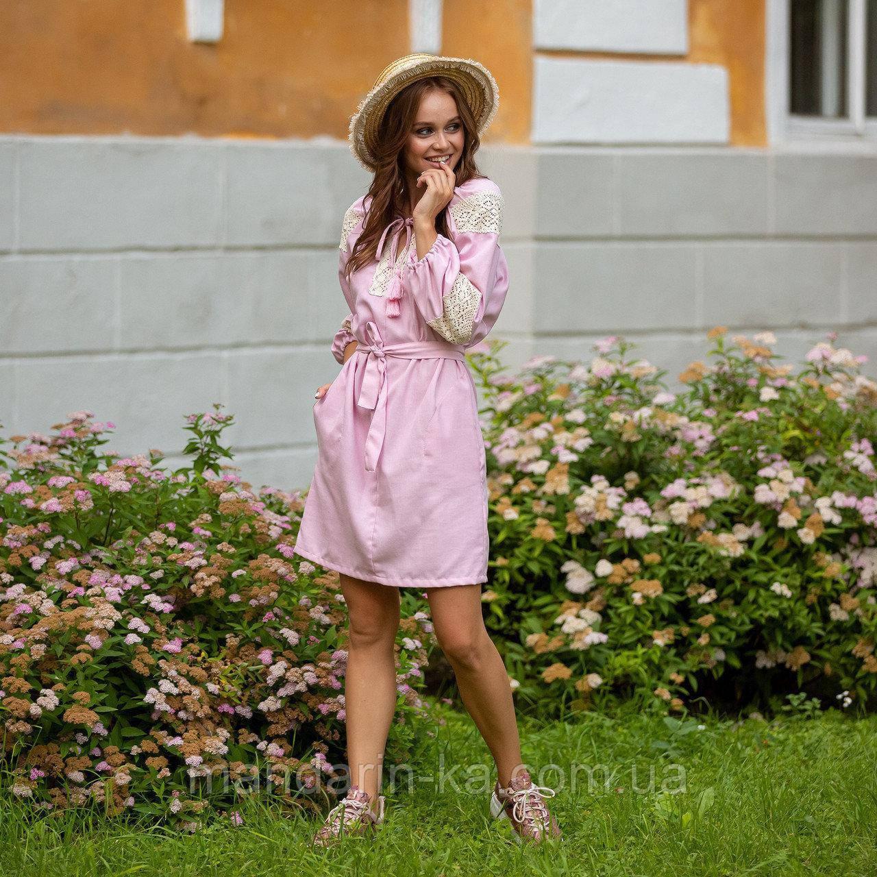 Платье женское  стильное  льняное с кружевом  пудра в этно-стиле
