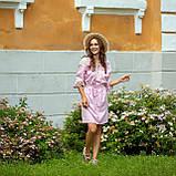 Платье женское  стильное  льняное с кружевом  пудра в этно-стиле, фото 4