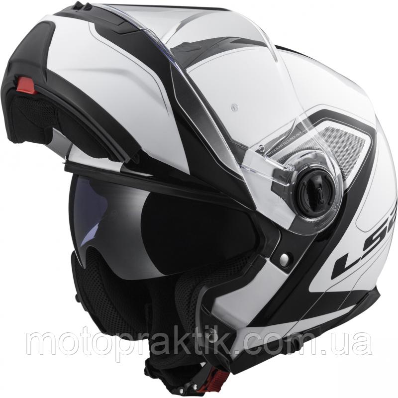 LS2 FF325 STROBE CIVIK, WHITE-BLACK, XS, Мотошолом модуляр з окулярами