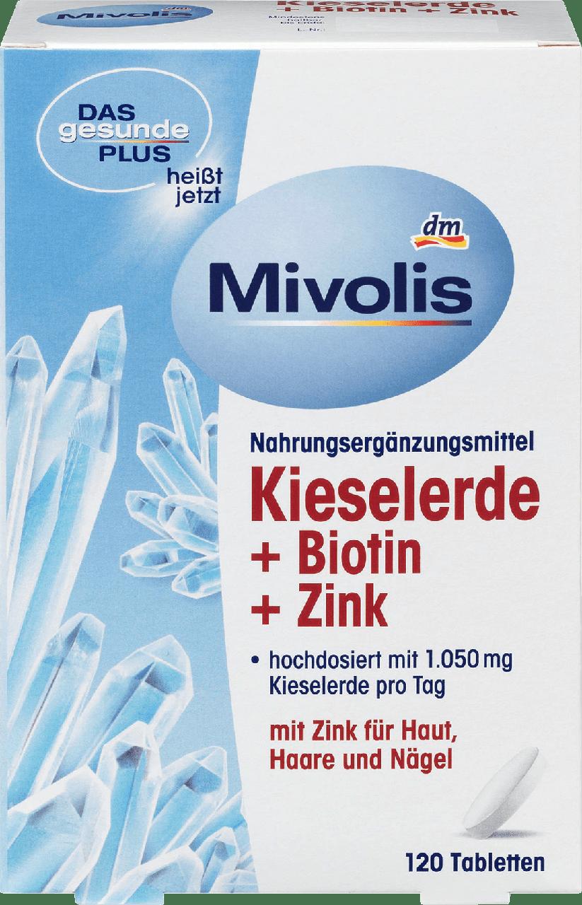 Биологически активная добавка Mivolis Kieselerde, Zink, Biotin для здоровых волос, ногтей и кожи, 120 шт.