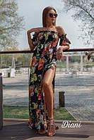 Платье в пол женское красивое цветочный принт с открытыми плечами и разрезом Smdi3608, фото 1