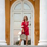 Платье женское красное   стильное  льняное с кружевом  в этно-стиле, фото 2