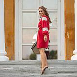 Платье женское красное   стильное  льняное с кружевом  в этно-стиле, фото 3