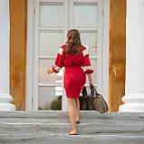 Платье женское красное   стильное  льняное с кружевом  в этно-стиле, фото 4