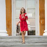 Платье женское красное   стильное  льняное с кружевом  в этно-стиле, фото 5
