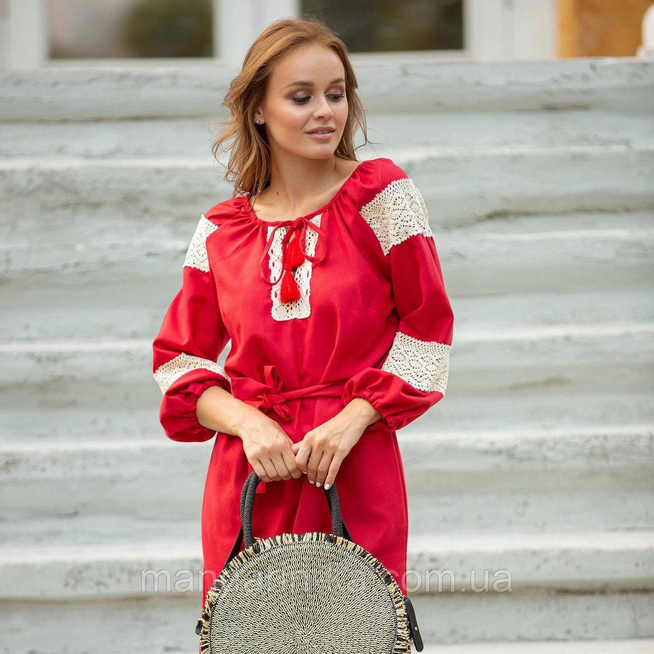 Платье женское красное   стильное  льняное с кружевом  в этно-стиле