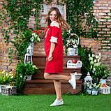 Платье женское красное   стильное  льняное с кружевом  в этно-стиле, фото 7
