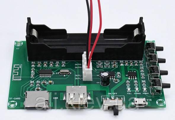 Підсилювач 2*5Вт з Bluetooth та мульті плеєром USB TF Слот для акб 18650 модуль