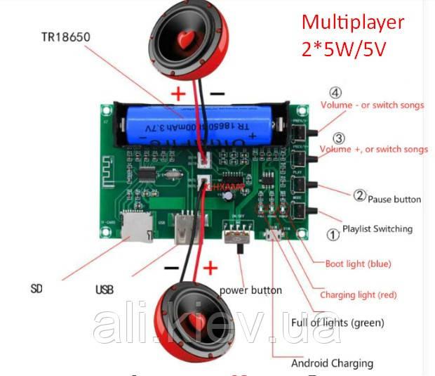 Усилитель звука 2*5Вт з Bluetooth  мульти плеер USB TF Слот для акб 18650.