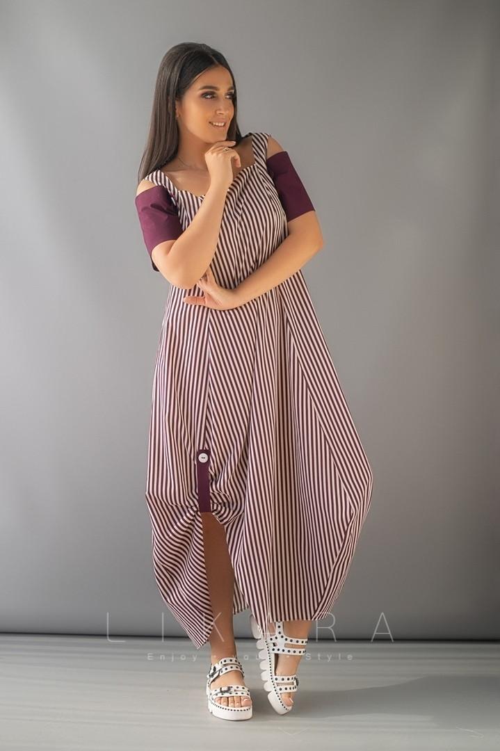 Стильное женское ассиметричное платье свободного кроя с разрезом 58, 60, 62