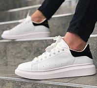 Мужские кроссовки Adidas Alexander McQueen Oversized Leather white black. Живое фото (Реплика ААА+)