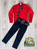 Костюм для мальчика: красная рубашка и темно-синие или черные брюки, фото 2
