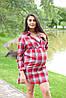 Рубашка-платье для беременных и кормящих в клетку