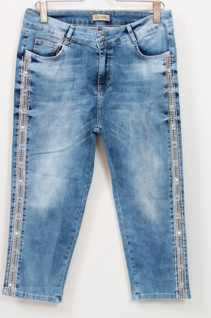 Турецкие джинсовые бриджи с лампасами из страз, 50-58
