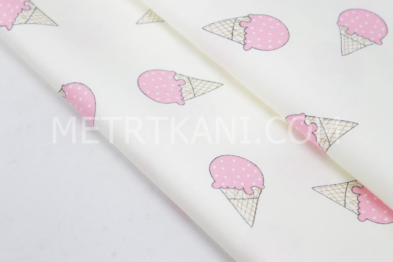 """Сатин  """" Мороженое розовое """" на кремовом  фоне № 160-113 с"""