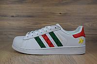 Кроссовки мужские в стиле Adidas Superstar код товара OD-1468. Бело-красные\зеленые