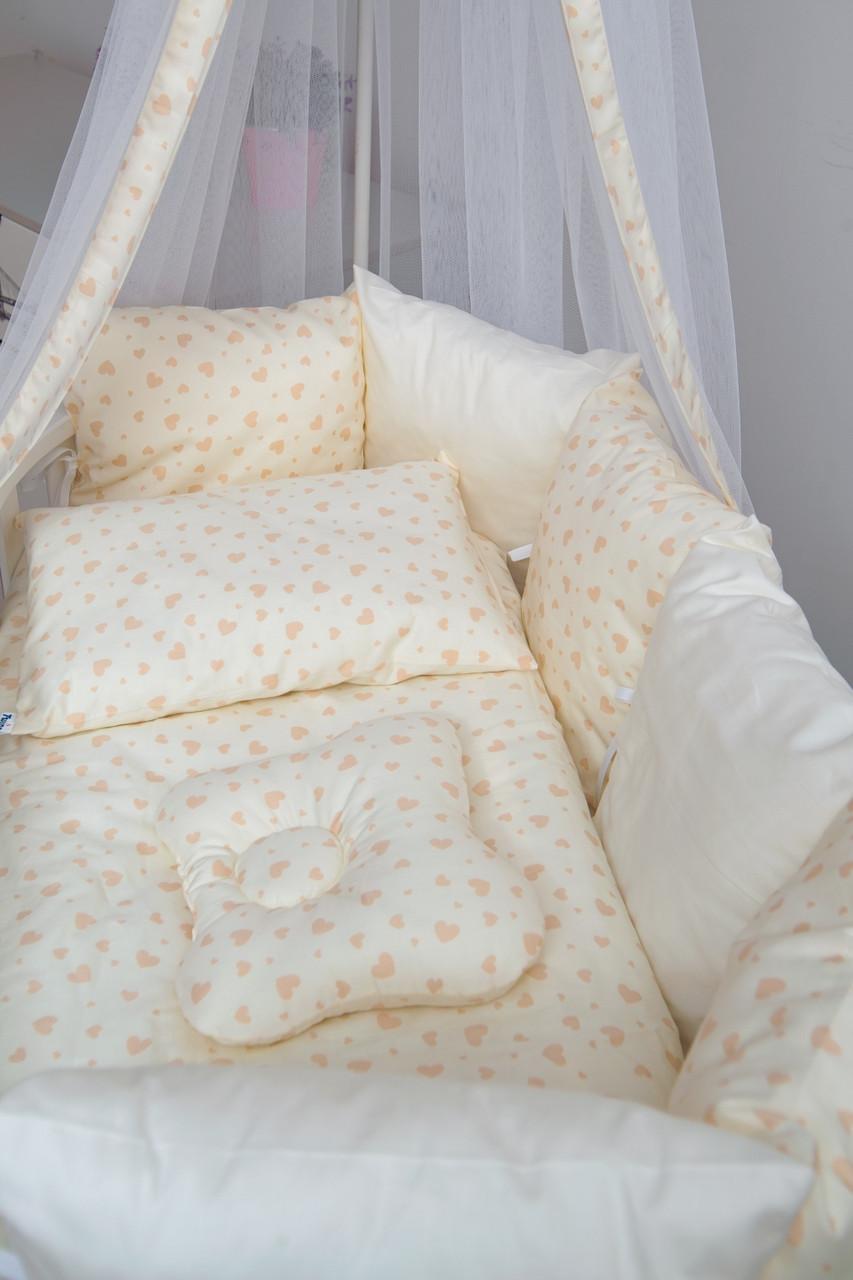 Детская постель Twins Dolce D-403 Сердечка ecru бежевый 8 предметов (Постіль твінс дольче)