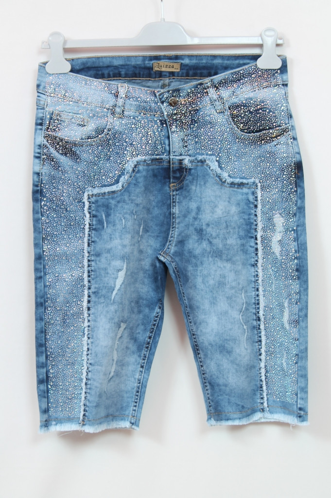 Турецкие джинсовые шорты со стразами, 50-54