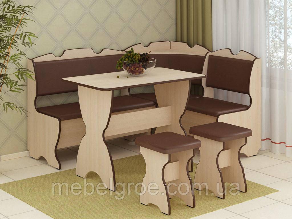 Кухонный уголок Комфорт с раскладным столом и табуретами тм Пехотин