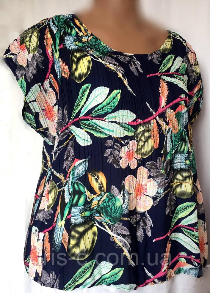 Блуза женская Marks&Spenser, гофрированный креп-шифон, большой размер 52/56